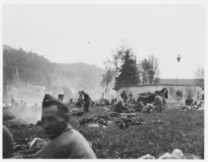 Blanchard, R H, fl 1941: Members of Stalag 383 on the banks of the Eicher River during their forced march across Germany