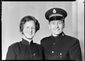 Captain R Smith and his wife in Salvation Army uniform