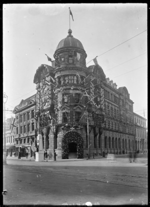 View of the Public Trust Office building in Wellington, decorated for the visit of the Prince of Wales in 1920.