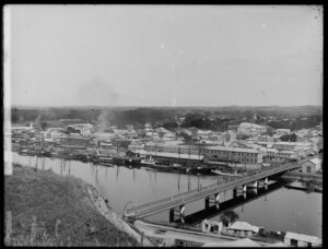 Panorama view from Durie Hill, looking across Whanganui River and bridge, showing town and Taupo Quay