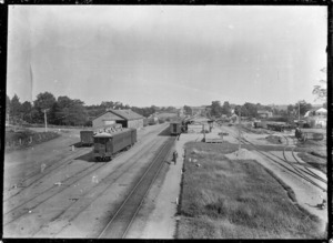 Putaruru Railway Station and railway yards, 1923.