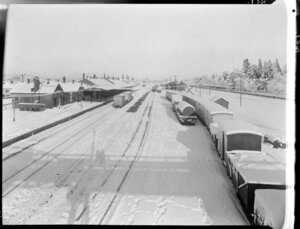 Tracks and trains covered in snow, Ashburton Railway Station, Ashburton
