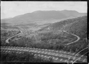 "Railway line owned by the Taupo Totara Timber Company showing ""the corkscrew"", with five different levels visible at this point."