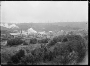 View of the timber mills at Mokai owned by the Taupo Totara Timber Company