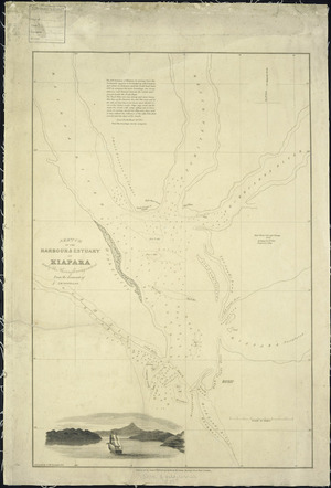 Sketch of the harbour & estuary of Kiapara [i.e. Kaipara] Harbour and of the rivers flowing through it [cartographic material] / from the documents of T. McDonnell.