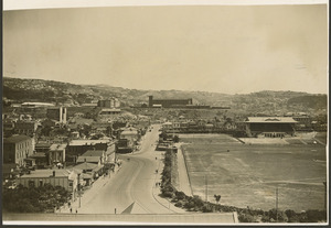 Creator unknown :Photograph showing Basin Reserve with Alexandra barracks in the background, Wellington