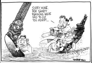 """""""Sorry, Hone. For safety reasons we've had to cut you adrift..."""" 9 February 2011"""