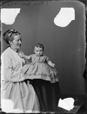 Mrs J Bell and infant- Photograph taken by Thompson & Daley of Wanganui