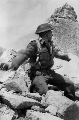 Soldier at the Cassino battlefront, Italy