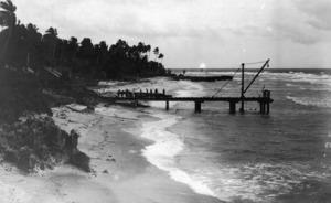 Beach and wharf at Uma village, near Sydney Point, Banaba, Kiribati