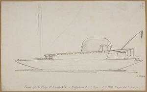 Ellis, William Wade, d 1785 :Canoe of the king of Anamooka or Rotterdam I., S. Seas. See Ellis's Voyage Vol 1. page 90. [May 1777]