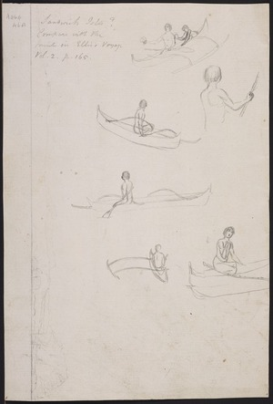 Ellis, William Wade, d 1785 :Sandwich Isles? [Studies of outrigger canoes paddled by Hawaiians. 1779]