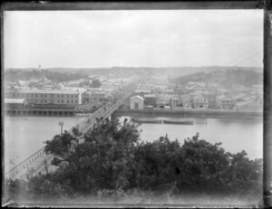 View of Whanganui town centre from Durie hill, with shrubs [gorse?] in the foregound, including Cook's Gardens, Victoria Avenue and bridge, and boats on the Whanganui River