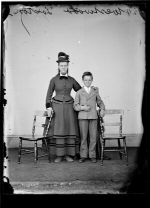 Mrs Westwood and her son of Foxton