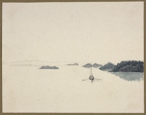[Hood, Robert] ca 1790-1821 :[Rowing boat on Hill River (?), Canada, 1819]