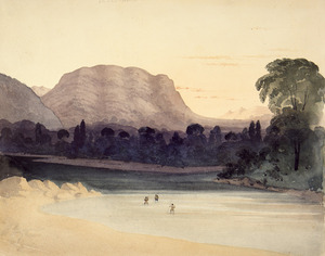 Fox, William 1812-1893 :On the Buller River in the Aglionby or Matukituki Valley, looking west. 19th Feb. [1846]