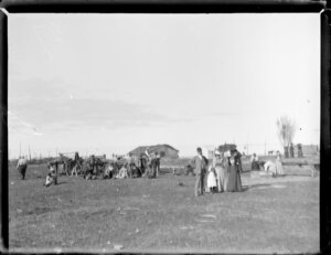 Scene during the Maori parliament (Kotahitanga) at Pakirikiri Pa, Gisborne Region, featuring cooking as well as Maori and European groups