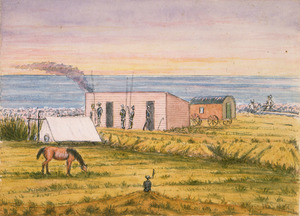 Preston, James 1834-1898 :[Fishermen at dawn on the South Canterbury coast, on William Rolleston's property at the mouth of the Rangitata River. Between 1881 and 1898]