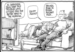 """""""As darkness falls over this troubled land, citizens pray for better news in the morning..."""" """"Egypt again?"""" """"Broken bone in Ritchie McCaw's foot..."""" 10 February 2011"""