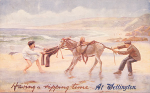 [Postcard]. Having a ripping time in Wellington. [ca 1910].