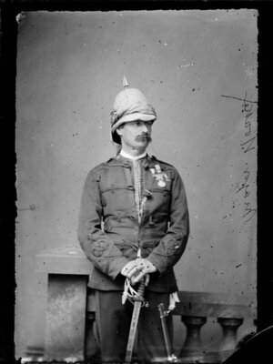 Major Noake, with helmet, medals and sabre