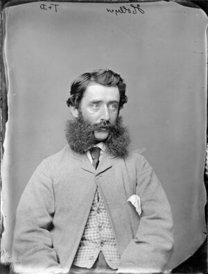 Mr Hollyer with luxuriant whiskers worn in the 'friendly mutton chops' style - Photograph taken by Thompson & Daley of Wanganui