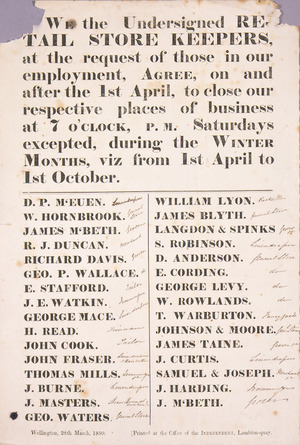 We the undersigned RETAIL STORE KEEPERS, at the request of those in our employment, Agree, on and after 1st April, to close our respective places of business at 7 o'clock, P.M. Saturdays excepted, during the WINTER MONTHS, viz from 1st April to 1st October. 28th March, 1850.