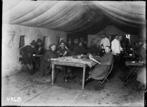 Soldiers in a New Zealand officers' club during World War I, Seninghem, France