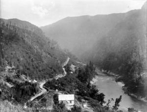 Overlooking Lyell River, the school house, and the Lyell-Nelson Road