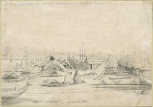 Norman, Edmund, 1820-1875. Attributed works :Pa, Te Aro, Wellington looking towards the Hutt River [1842 or 1843?]