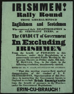 Irishmen! Rally round... [against] the conduct of Government excluding Irishmen...[1857].