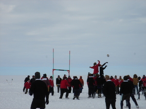 Photographs of a rugby game between Scott Base and McMurdo Base, taken by Jonathan Adie