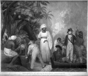 Gosse, Thomas, 1765-1844 :Transplanting of the bread-fruit trees from Otaheite. Painted and engraved by T Gosse. London, T Gosse 1796