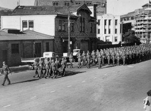 United States troops marching along Jervois Quay, Wellington