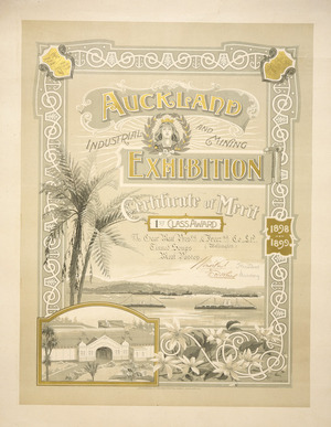 Young, H W, fl 1898-1901 :Auckland Industrial and Mining Exhibition. Certificate of merit. 1st class award to Gear Meat Pres[er]v[in]g & Freez[in]g Co. Ltd. H W Young des. Lithographed at the 'Star' Printing Works, Auckland, N.Z. 1898-1899.