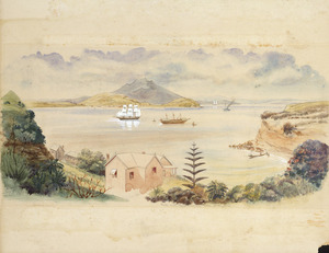 [Warre, Henry James] 1819-1898 :Auckland harbour Commercial Bay (Beach Rd) Oct 1864. Hulk with Maori prisoners taken at Rangiriri. Mr Jones' house.