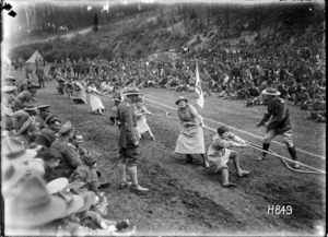 The winning Queen Mary's Auxilary Army Corps tug-o-war at the NZ Infantry and General Base Depot, Etaples, France