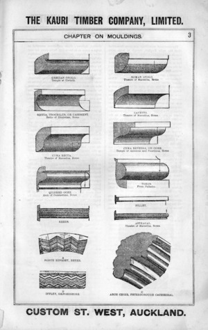 The Kauri Timber Company Ltd (Auckland Office) :Chapter on mouldings. [Catalogue. Page 3. ca 1906].