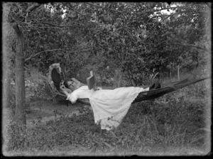 Lydia Myrtle Williams in a hammock, Napier