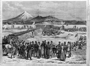 Harper's weekly :Meeting of natives with the British authorities at Waitara, New Zealand. J R B [sc.] [New York] Harper's weekly 1878