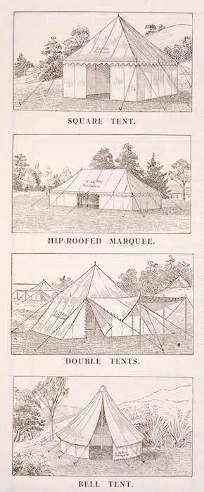 Tonson Garlick Co :[Tents]. Square tent; rib-roofed marquee; double tents; bell tent; striped lawn tent; rounded-end marquee; double-roofed health tent; tent and fly. [ca 1910].
