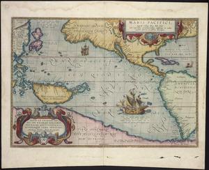 Maris Pacifici [cartographic material] : (quod vulgo Mar del Zur), cum regionibus circumiacentibus, insulisque in eodem passim sparsis, novissima descriptio / ...  Abraham Ortelius ... 1589.