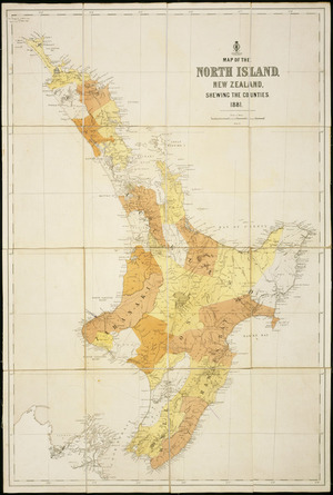 Map of the North Island, New Zealand, shewing the counties, 1881 [cartographic material] ; Map of the Middle Island, New Zealand, shewing the counties, 1881.