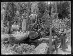 Timber workers and tree felling implements in the Stratford region