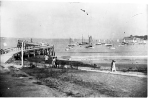Wharf and yachts, Takapuna Beach, Auckland - Photographer unidentified