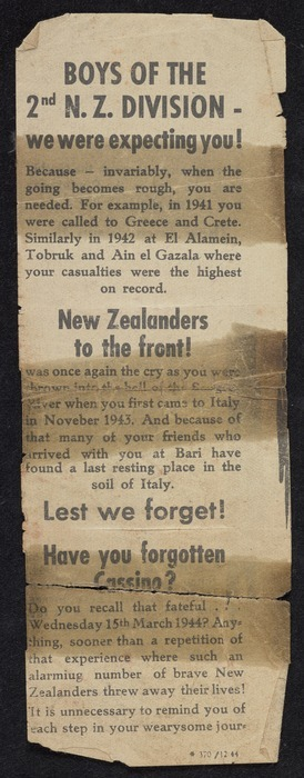 Boys of the 2nd N.Z. Division - we were expecting you! [German propaganda leaflet targeting New Zealand troops, dropped in Italy]. 370 /12 44 [1944]