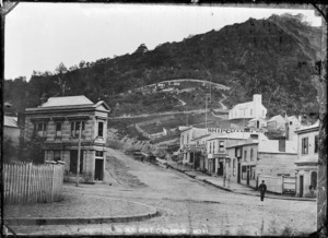 Street scene at Port Chalmers, in the 1870s. Upper Mount Street.