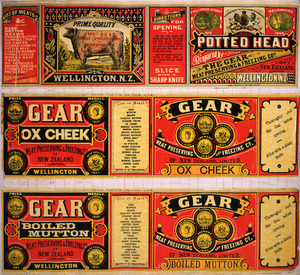 Gear Meat Company :[Three labels for Potted head; Ox cheek; and Boiled mutton]. Gear Meat Preserving & Freezing Company of New Zealand, Wellington New Zealand. [1890-1920].
