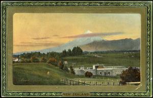 [Postcard]. Mount Egmont, Taranaki, New Zealand. New Zealand series III, postcard 739. Wide wide world series. Framed Gem Glasso. Raphael Tuck & Sons. Processed in Saxony. [ca 1912].
