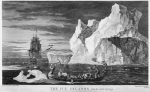 Hodges, William, 1744-1797 :The ice islands, seen the 9th of Janry., 1773. Engrav'd by B T Pouncy; drawn from nature by W Hodges. London, 1777